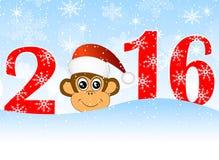 Cartão de Natal com os números do ano 2016 e de macaco ilustração do vetor