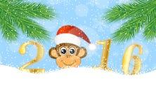 Cartão de Natal com os números do ano 2016 e de macaco ilustração stock