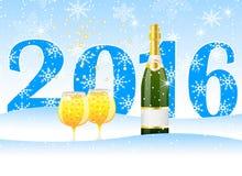 Cartão de Natal com os números 2016 e champanhe ilustração stock