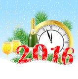 Cartão de Natal com os números o ano 2016, pulso de disparo e campeão ilustração stock