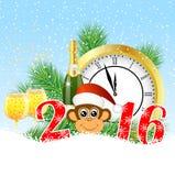 Cartão de Natal com os números o ano 2016, pulso de disparo e campeão ilustração royalty free