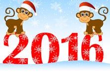 Cartão de Natal com os números os macacos do ano 2016 e dois ilustração do vetor