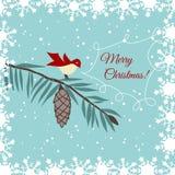 Cartão de Natal com pássaro Imagem de Stock