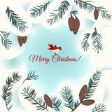 Cartão de Natal com pássaro ilustração stock