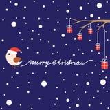 Cartão de Natal com pássaro e presentes Imagens de Stock