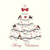 Cartão de Natal com pássaros bonitos Fotografia de Stock Royalty Free