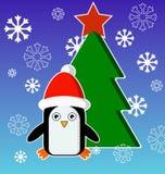 Cartão de Natal com pinguim Foto de Stock Royalty Free