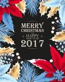 Cartão de Natal com poincettia Imagens de Stock