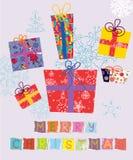 Cartão de Natal com presentes ilustração royalty free