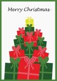 Cartão de Natal com presentes Fotografia de Stock Royalty Free