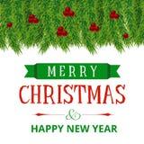 Cartão de Natal com quadro das cerejas e das folhas ilustração royalty free