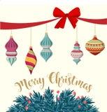 Cartão de Natal com quinquilharias e ramos do abeto ilustração do vetor