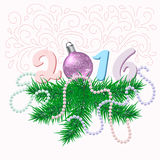 Cartão de Natal com ramos e bola do abeto Imagem de Stock