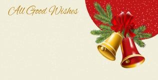 Cartão de Natal com ramos e bolas de árvore Fotos de Stock