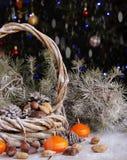 Cartão de Natal com ramos e decoração do abeto Imagens de Stock