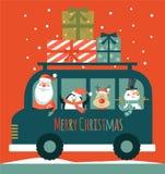 Cartão de Natal com Santa boneco de neve, cervos e pinguim , ilustração royalty free