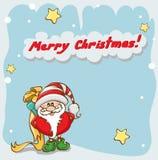 Cartão de Natal com Santa bonito ilustração stock
