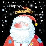 Cartão de Natal com Santa Claus e o cão Fotos de Stock Royalty Free