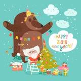 Cartão de Natal com Santa Claus e o urso Imagens de Stock