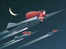Cartão de Natal com Santa Claus em foguetes na noite. Imagens de Stock