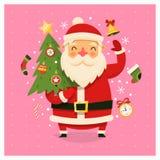 Cartão de Natal com Santa Claus que leva a árvore decorada ilustração stock