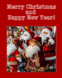Cartão de Natal com Santa Clauses fotos de stock