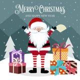 Cartão de Natal com Santa e caixa de presente ilustração stock