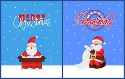 Cartão de Natal com Santa Hold Xmas Wish List ilustração royalty free