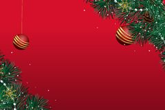 Cartão de Natal com um fundo vermelho com uma bola dourada ilustração royalty free