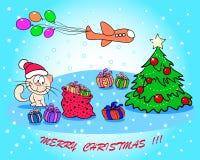 Cartão de Natal com um gato Foto de Stock