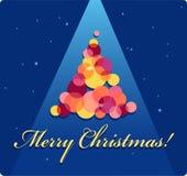 Cartão de Natal com uma árvore Fotografia de Stock Royalty Free