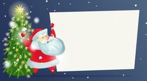 Cartão de Natal com uma árvore de Natal decorada e Santa Claus alegre ilustração stock