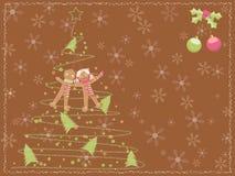 Cartão de Natal com uma árvore scribbled giz Imagens de Stock Royalty Free