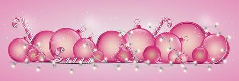 Cartão de Natal com uma festão de incandescência Estrelas e bolas brilhantes FO ilustração royalty free