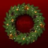 Cartão de Natal com uma grinalda de ramos do abeto e de um congratulator ilustração royalty free