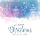 Cartão de Natal da aquarela com quinquilharias ilustração stock