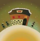 Cartão de Natal da casa de campo da neve Fotografia de Stock Royalty Free