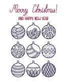 Cartão de Natal da garatuja dos esboços Fotografia de Stock Royalty Free