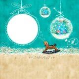 Cartão de Natal de Babys com photoframe Fotos de Stock