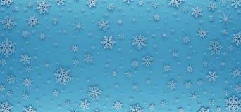 Cartão de Natal decorado com flocos de neve brancos Teste padrão para cumprimentos do Natal fotos de stock royalty free