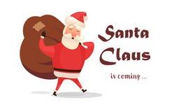 Cartão de Natal Desenhos animados engraçados Santa Claus com o saco vermelho enorme com presentes Texto tirado mão - Santa Claus  ilustração do vetor