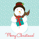 Cartão de Natal do boneco de neve Foto de Stock