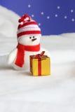Cartão de Natal do boneco de neve - foto conservada em estoque Fotos de Stock