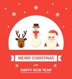 Cartão de Natal do cumprimento Caráteres do ano novo - ilustração no estilo liso Imagem de Stock Royalty Free