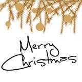 Cartão de Natal do cumprimento no estilo do vintage Fundo do inverno Quadro do vetor com ramos do pinho Fotos de Stock