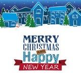 Cartão de Natal do feriado Ilustração home do vetor do inverno Foto de Stock