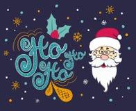 Cartão de Natal do vetor com Papai Noel Santa diz Ho ho ho Fotos de Stock Royalty Free