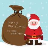 Cartão de Natal do vetor com Santa Claus e o saco Fotografia de Stock