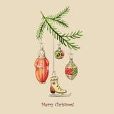 Cartão de Natal do vetor do vintage Ilustração Stock