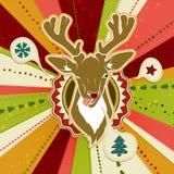 Cartão de Natal do vetor do vintage com os cervos que mostram sua língua Fotos de Stock